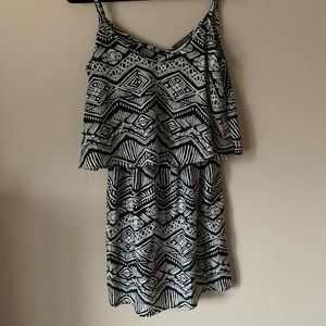 Aztec black and white tank dress